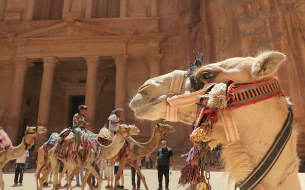 宝物殿「エル・ハズネ」の前を歩くラクダ(ヨルダン・ペトラ遺跡)