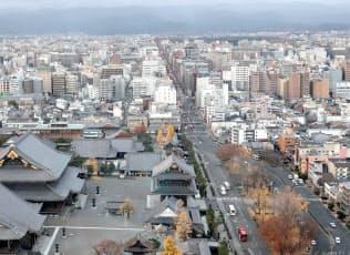景観政策の影響で京都には高い建物が少ない(12月上旬、京都市下京区)