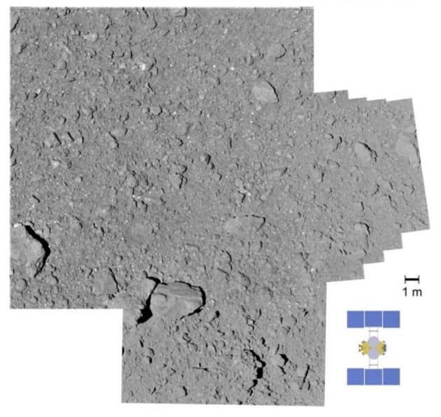 着陸候補地点付近を撮影した画像を組み合わせたもの。平らな部分がほとんどない=JAXAなど提供