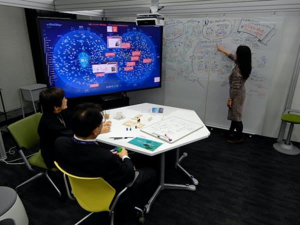 「共創スタジオK416」では大画面ディスプレーやホワイトボードを使ってアイデアを出す