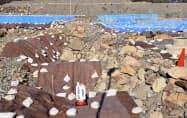 金箔瓦や石垣が発見された駿府城跡の発掘調査現場(静岡市)=共同