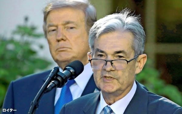トランプ米大統領とパウエルFRB議長の関係はぎくしゃく=ロイター