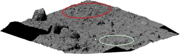 りゅうぐうへの着陸候補地点(赤と緑の円内)が示された=JAXA提供