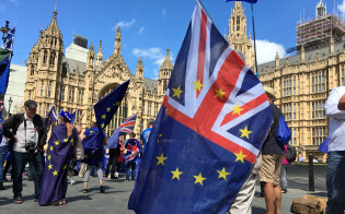 EUから離脱するかどうか英国の世論は割れる。(国会前のEU残留派の集会、2018年)