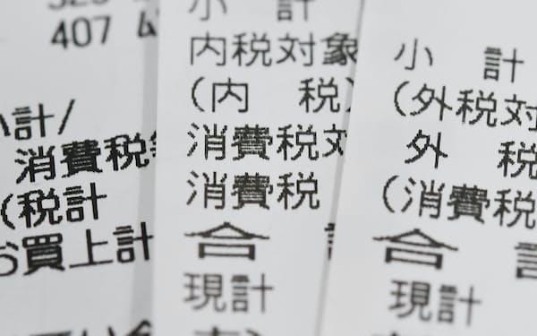 レシートに印字された消費税の文字