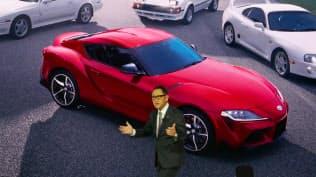 「スープラ」の復活を発表したトヨタ自動車の豊田章男社長(1月、米デトロイト)