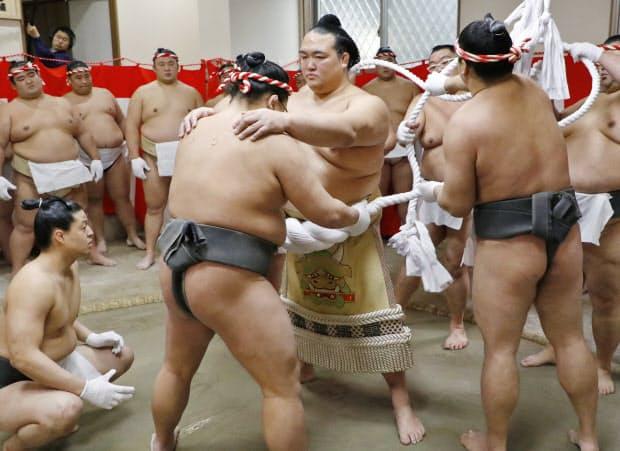 田子ノ浦部屋で、出来上がった綱を締める(2017年1月26日、東京都江戸川区)