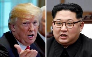 トランプ米大統領(左)と北朝鮮の金正恩委員長=ロイター