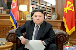 金正恩氏は新年の辞で、米朝交渉について「国際社会から歓迎される結果を目指す」と強調した。(朝鮮中央通信=共同)