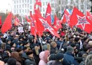 20日、モスクワで開かれた北方領土返還反対集会