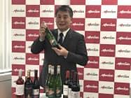 メルシャンの代野照幸社長は輸入ワインの拡充方針を発表した(21日、東京・千代田)