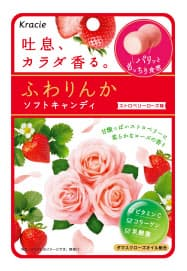 クラシエフーズが「ふわりんか」シリーズから発売するソフトキャンディーのストロベリーローズ味