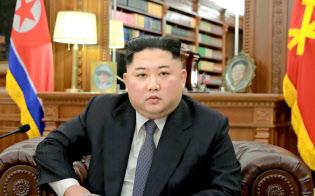 2019年の「新年の辞」を発表する北朝鮮の金正恩委員長=朝鮮中央通信・共同