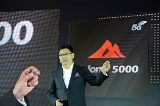 ファーウェイが発表した5G向けスマホ向け半導体(北京市、24日)