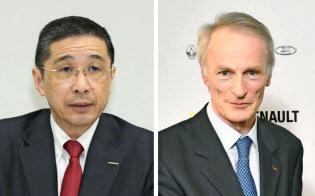 日産の西川広人社長(左)とルノーのスナール新会長=共同