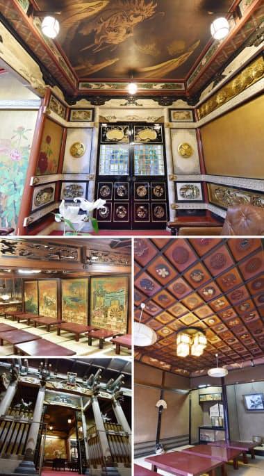 (上から時計回りに)応接間、2階の会食部屋「由良の間」、「陽明門」、1階の大宴会場「桃山殿」