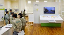 報道公開された中間貯蔵工事情報センター(29日、福島県大熊町)=共同
