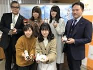 アカモクを使った加工食品を朝日共販と愛媛大の学生らが開発した(1月、松山市)