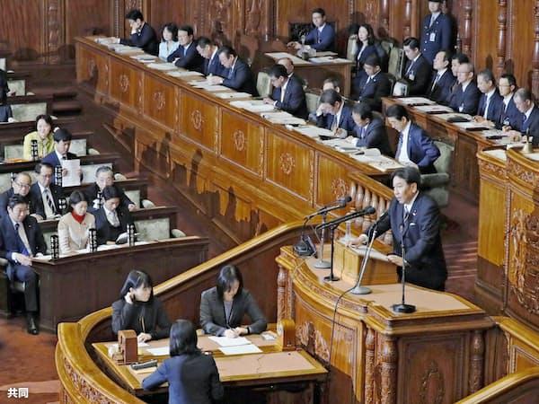 衆院本会議で代表質問する立憲民主党の枝野代表(30日午後)=共同