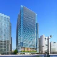 広島市中心部の新本店ビルは2021年春の開業を目指す(広島銀行新本店ビルイメージ)
