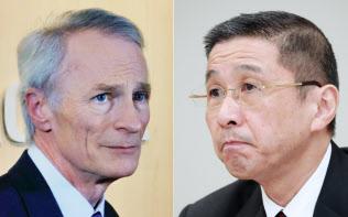 ルノー新会長のスナール氏(写真左)と日産自動車の西川社長