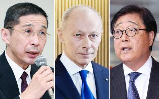 (左から)日産自動車の西川社長、ルノー新CEOのボロレ氏、三菱自動車の益子修会長兼CEO