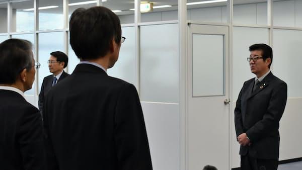 「規制突破で新しい万博を」 協会事務所開設、松井知事が訓示