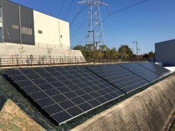 いこま市民パワーの電源として稼働している太陽光発電(奈良県生駒市)