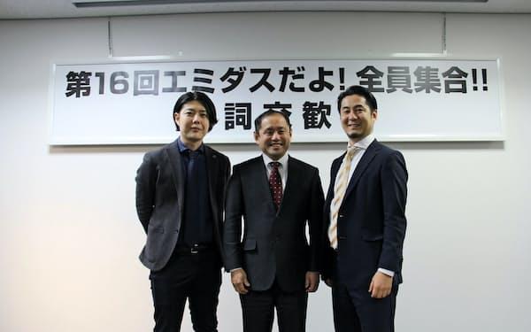 業務提携を発表した3社の代表(左から日本クラウドキャピタルの柴原祐喜CEO、NCネットワークの内原康雄社長、マクアケの中山亮太郎社長)