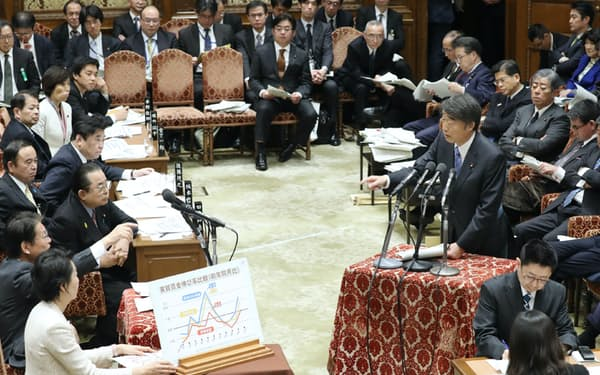 衆院予算委で立民・長妻氏の質問に答える根本厚労相(4日)