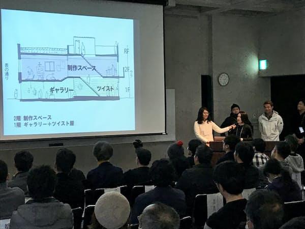 福山駅前の中古ビルの活用策を提案するリノベーションスクール生(1月27日、広島県福山市)