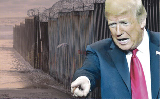 トランプ米大統領と国境の壁(コラージュ、写真はAP)