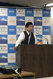 川勝知事は「人づくり」「富づくり」を進めると強調した(8日、静岡県庁)