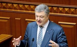 現職のポロシェンコ大統領の支持率は低迷している=ロイター