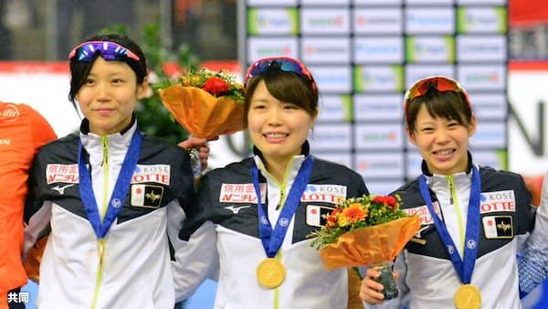 女子団体追い抜きで日本V 世界距離別スケート