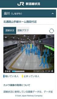 JR東日本が開始した駅構内の混雑状況を画像で確認できるサービスの利用画面(イメージ)
