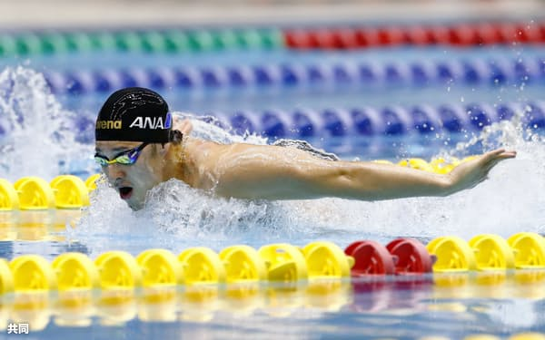 男子400メートル個人メドレー 優勝した瀬戸大也のバタフライ(16日、千葉県国際総合水泳場)=共同