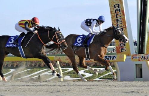 第36回フェブラリーステークスを制した武豊騎乗のインティ(6)。左は2着のゴールドドリーム(17日、東京競馬場)=共同