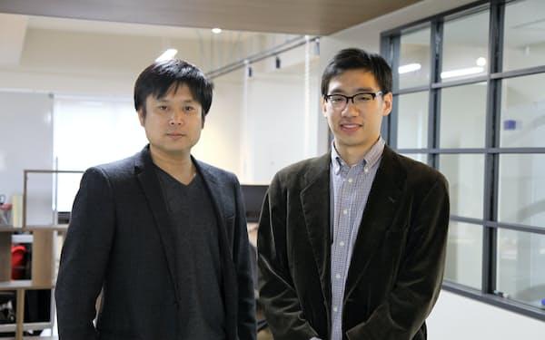 新会社M&A BASEの代表に就任した西條晋一氏(左)と広川航取締役