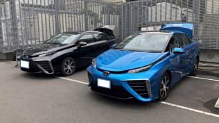 竹中工務店が実施した実証実験で、ビルに電力を供給する燃料電池車(東京・江東)