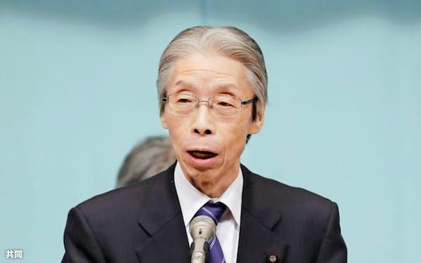東京都内で開いた社民党の全国代表者会議であいさつする又市党首(17日午後)=共同