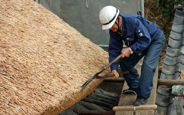 葺いた茅をきれいに切りそろえる茅葺き職人の山本進さん(18日、岡山県瀬戸内市)