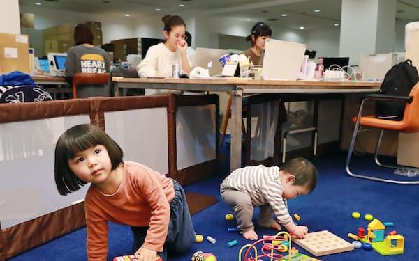 「ソウ・エクスペリエンス」ではスタッフが子供を社内で遊ばせながら働ける(1月、東京都渋谷区)
