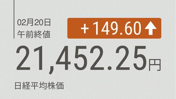 東証前引け 続伸、海外勢が先物買い 円安も支え