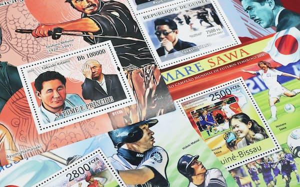 日本の俳優やスポーツ選手などをデザインした切手がアフリカの一部の国で発行されている