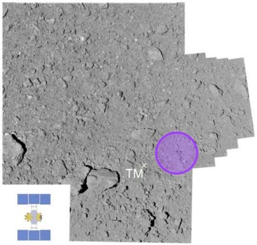 円が着陸目標(半径3メートル)で、左下のはやぶさ2と大きさを比較できる。×印はリハーサルで落とした目印の位置=JAXA提供