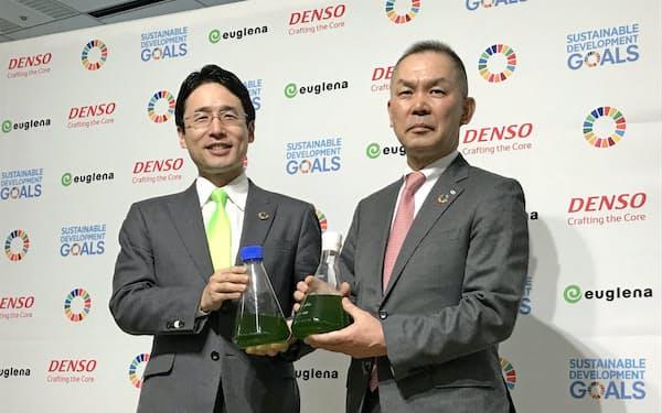 ユーグレナの農学的知見とデンソーのエンジニアリング技術で、バイオ燃料の実用化を目指す。