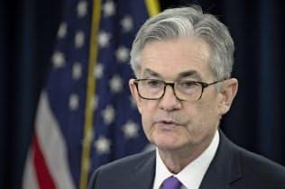 1月30日、FOMC後に記者会見したパウエルFRB議長=AP