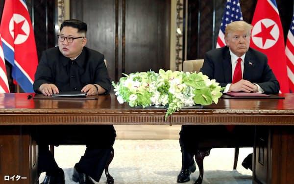 2018年6月、初めて会談したトランプ大統領と金正恩委員長(シンガポール)=ロイター