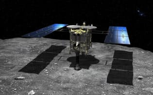 小惑星りゅうぐうに着陸するはやぶさ2の想像図(JAXA・池下章裕氏提供)